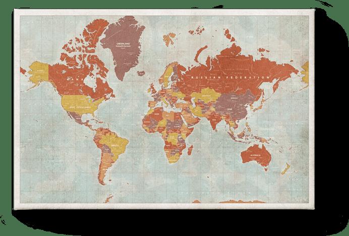 Vintage Red World Map