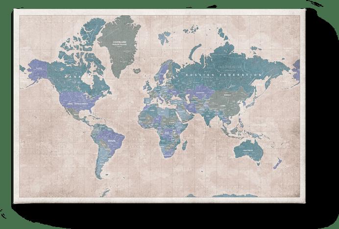 Vintage Blue World Map