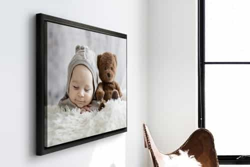 Photos on canvas with black floating frame