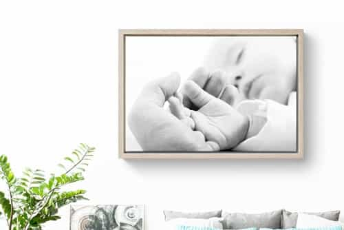 Canvas print in a floating frame